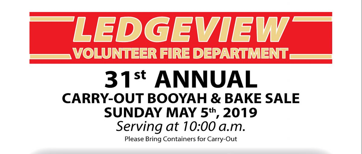 Fire Department's Annual Booyah & Bake Sale May 5th at 10am