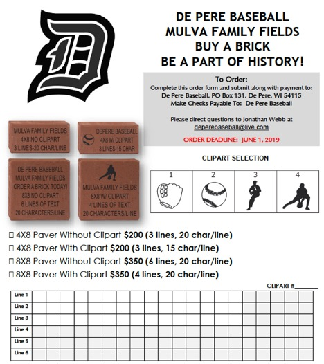 Buy a De Pere Baseball Brick Today – Deadline June 1st